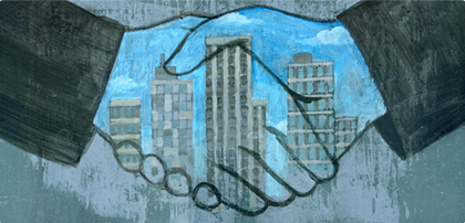 Graphic depicting a handshake and partnership